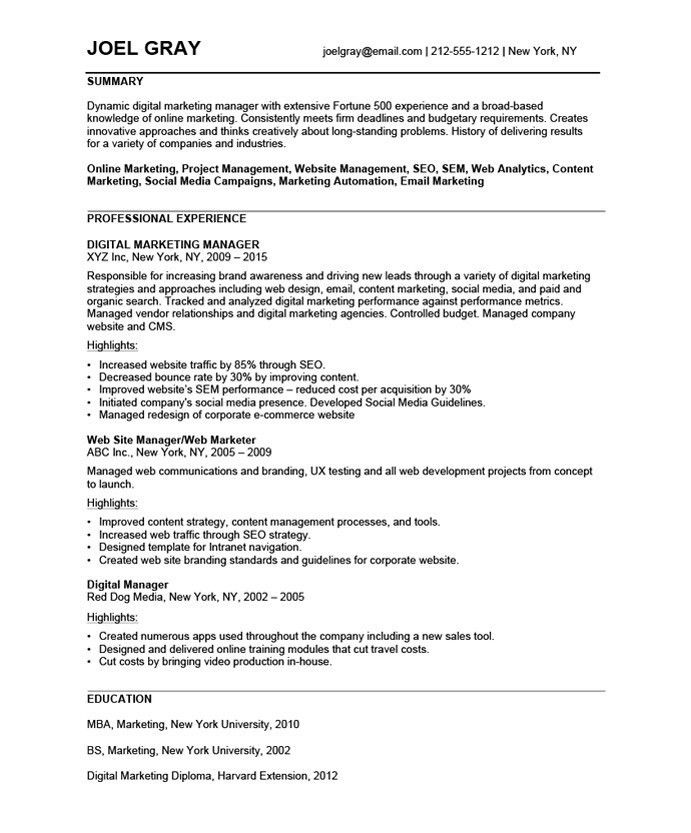 Digital Marketing Manager | Free Resume Samples | Blue Sky Resumes