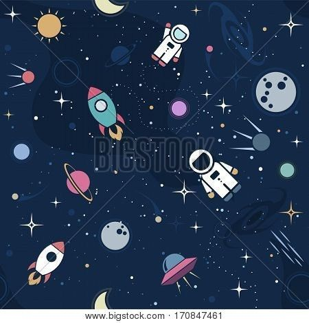Vector flat space seamless pattern background. Cute color template ...