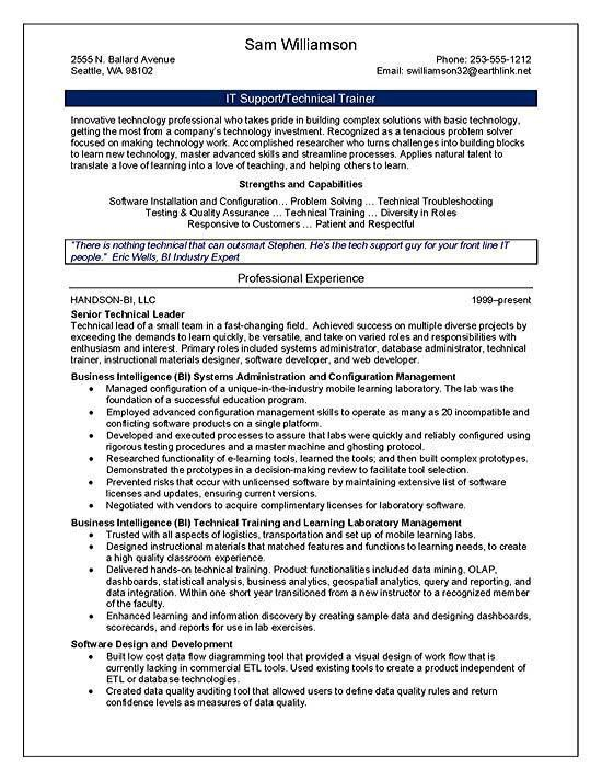 Software trainer sample resume