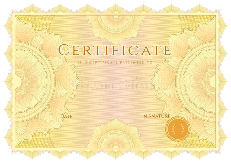 Certificate / Diploma Background. Yellow Border Stock Photos ...