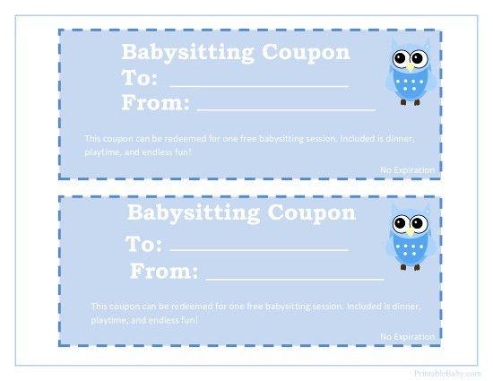 Printable Babysitting Coupons - Free Baby Sitting Voucher