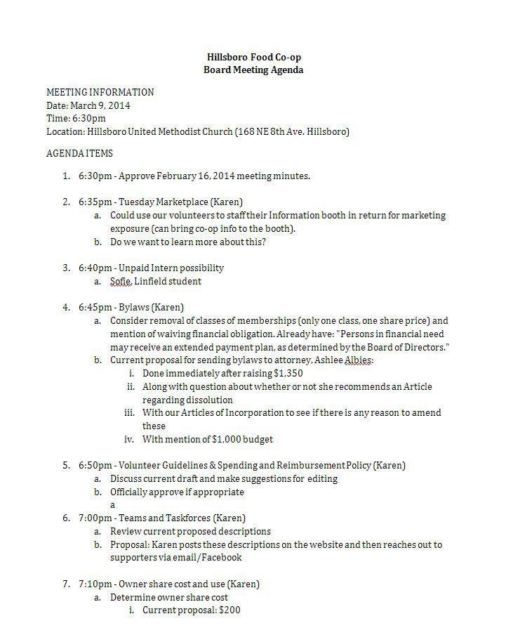 3/9 Board Meeting Agenda | Hillsboro Food Co-op