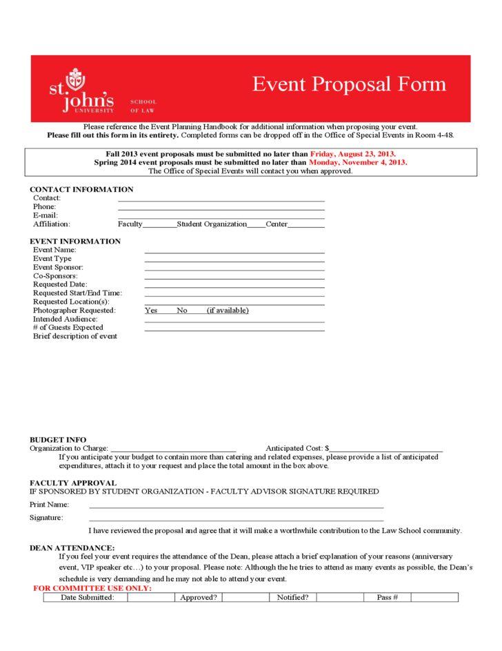 Event Proposal Form - St. John's University Free Download