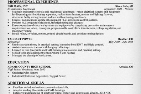 Electrician Resumes Nyc. industrial electrician resume template ...