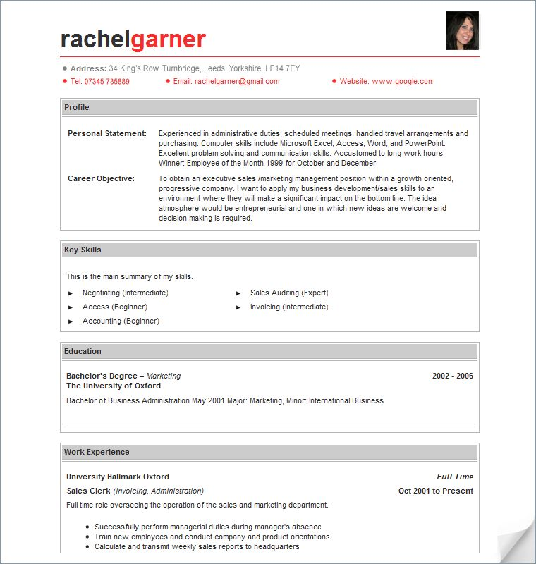 resume sample templates my perfect resume templates english resume ...