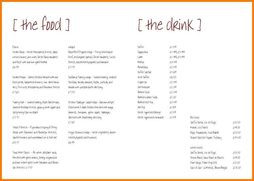 8 free menu templates   Receipt Templates