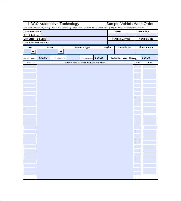 Auto Repair Invoice Template – 8+ Free Word, Excel, PDF Format ...