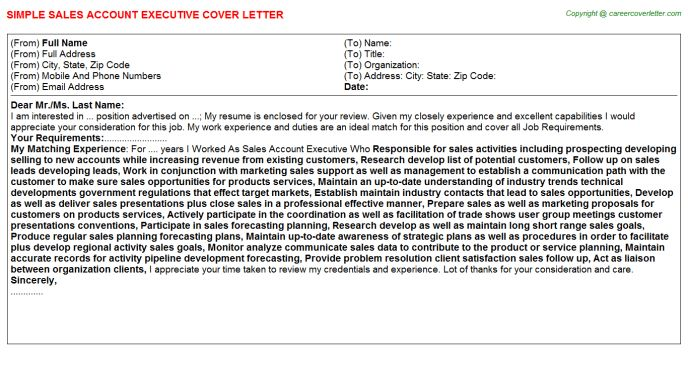 Cosmetic Account Executive Cover Letters