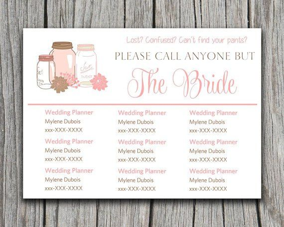 DIY Wedding Information Card Template Please Call Anyone