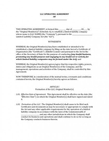 Operating Agreement. Limited Liability Company Operating Agreement ...