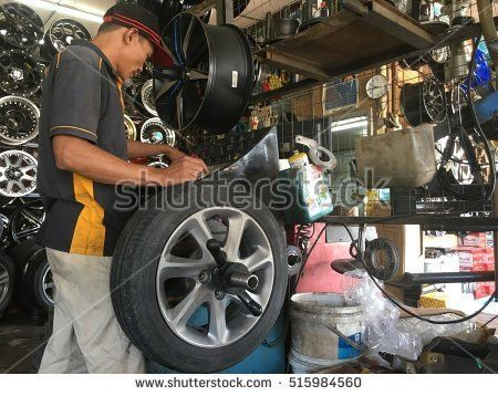 Portrait Tattooed Biker Working Garage Repairing Stock Photo ...