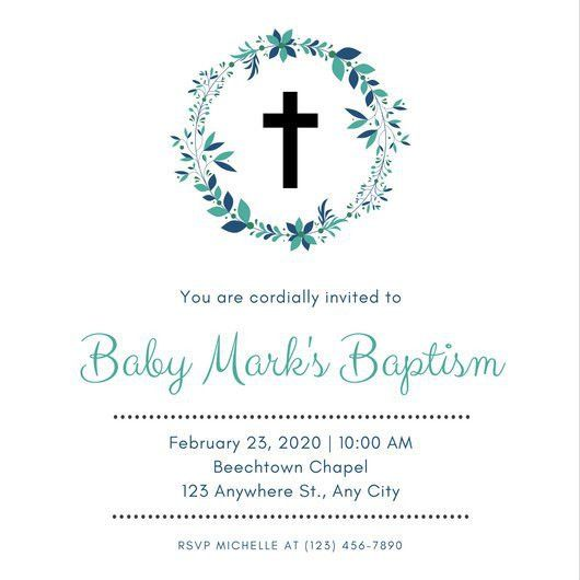 Blue Green Boy Baptism Invitation - Templates by Canva