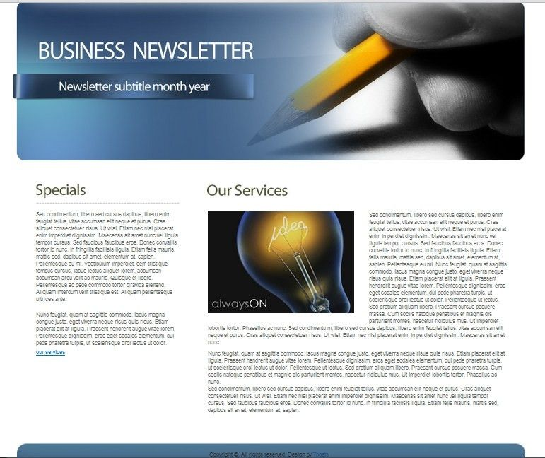 Download Free HTML Business Newsletter Template • 7Boats