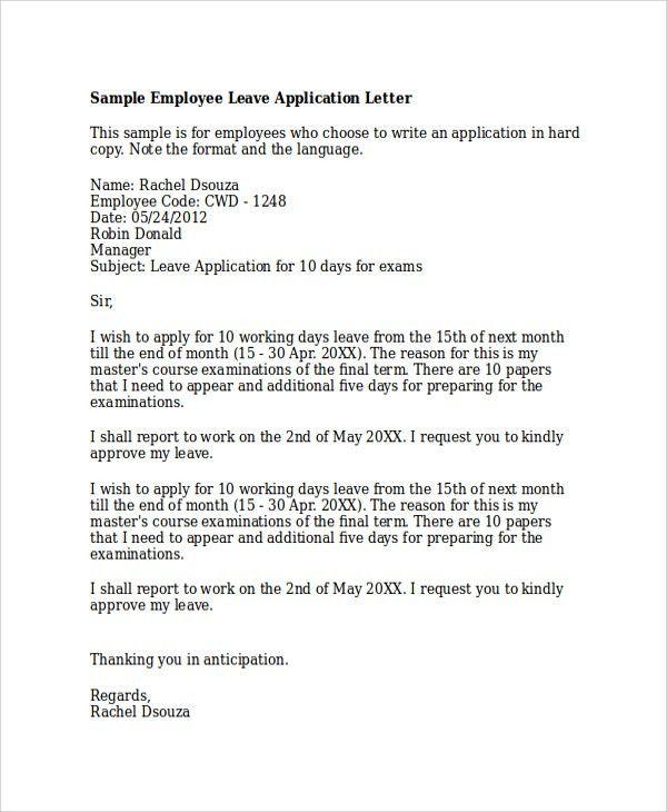 95 application letter for 10 days leave letter sample