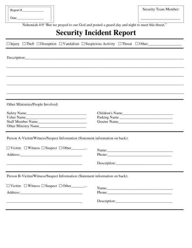 Blank Security Incident Report Template Sample : Helloalive