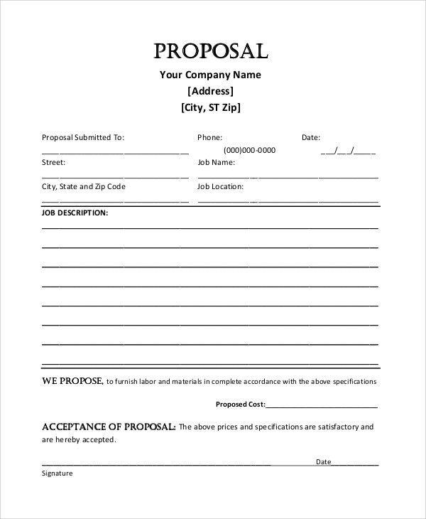 Sample Job Proposal - 5+ Examples in word, pdf