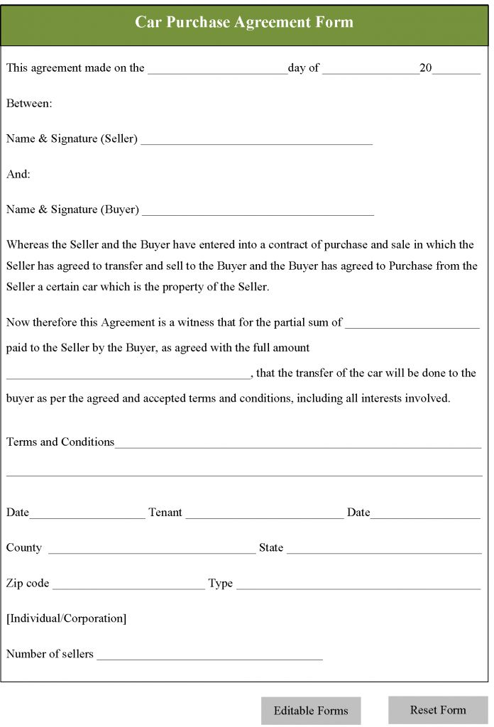 10 Best Images of Printable Vehicle Purchase Agreement Form ...