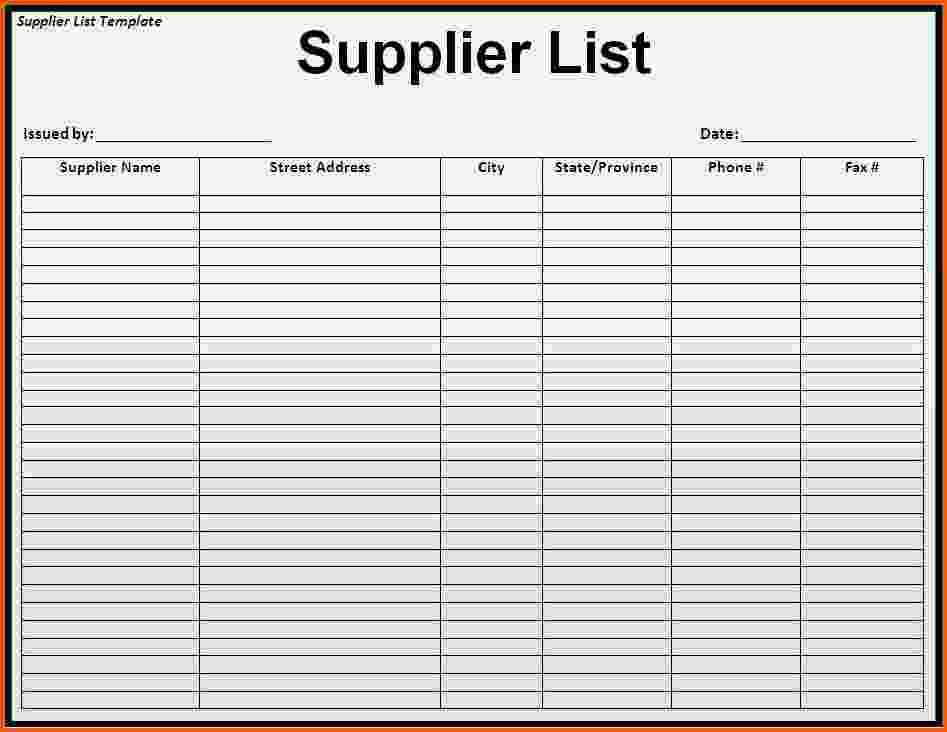 Vendor List Templates. Cyber Security Contact List Template ...