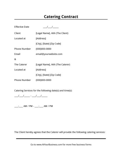 Catering Contract | LegalForms.org