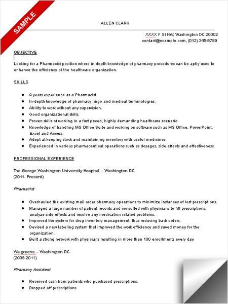 Pharmacist Resume Samples | Experience Resumes