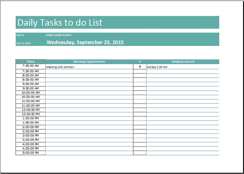 Daily Task List Template | free to do list