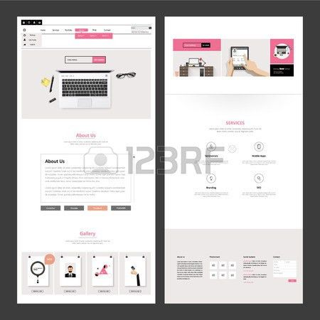 One Page Business Website Design Template. Vector Design. Royalty ...