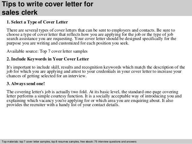 sales clerk cover letter