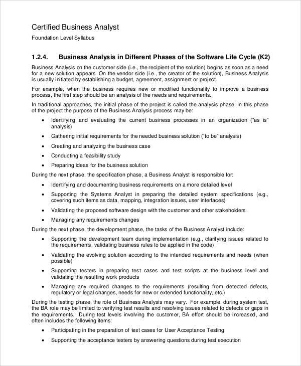 Sample Business Analysis   8+ Examples In PDF, Word