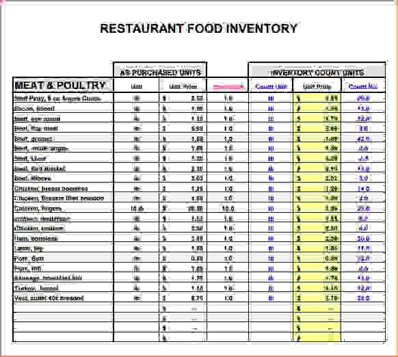 4+ restaurant inventory template | Procedure Template Sample
