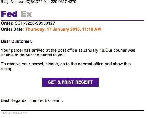 FedEx Incorrect Delivery Address Malware Email