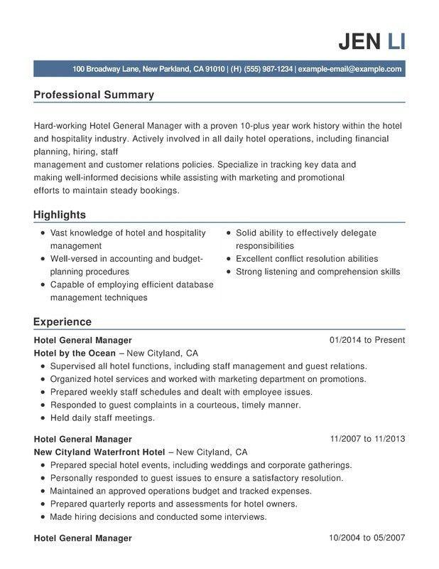 resume hospitality hotel amp hospitality combination resume sample ...