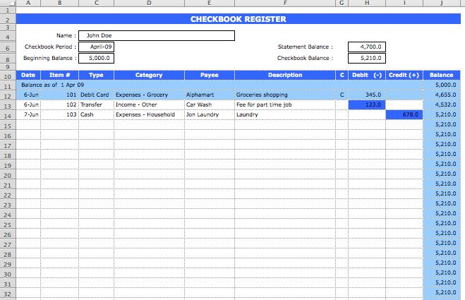 Checkbook Register Template | Microsoft Excel Templates