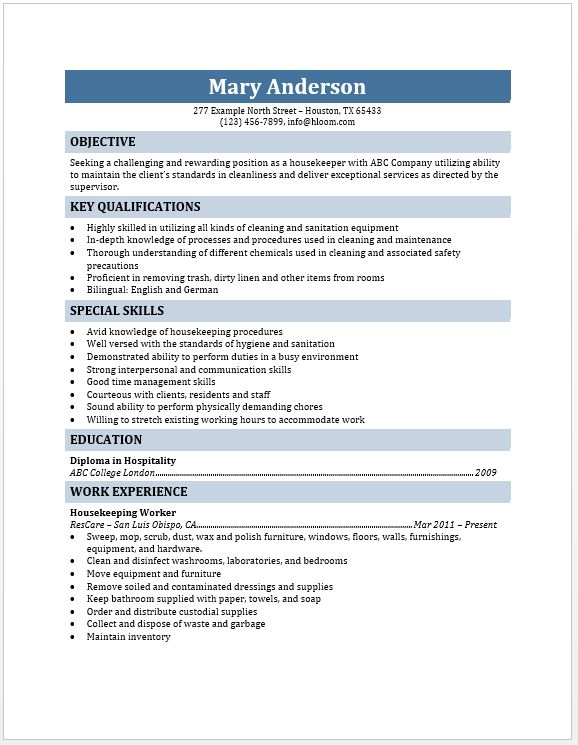 Housekeeper Resume | Free Layout & Format