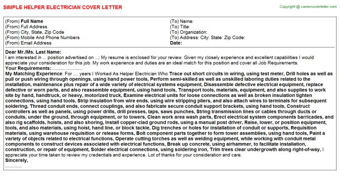 Helper Electrician Cover Letter