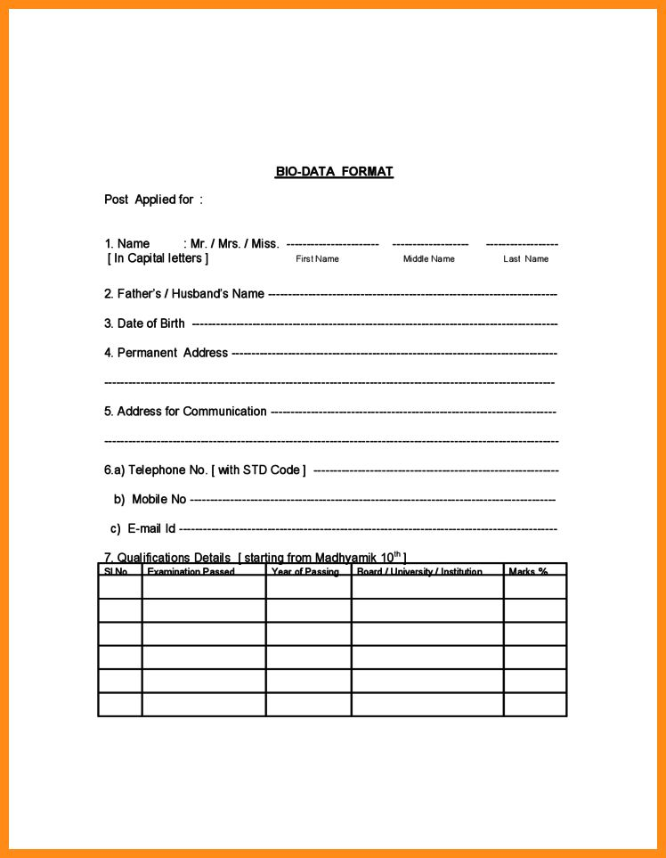 6+ bio data form for job | action plan template