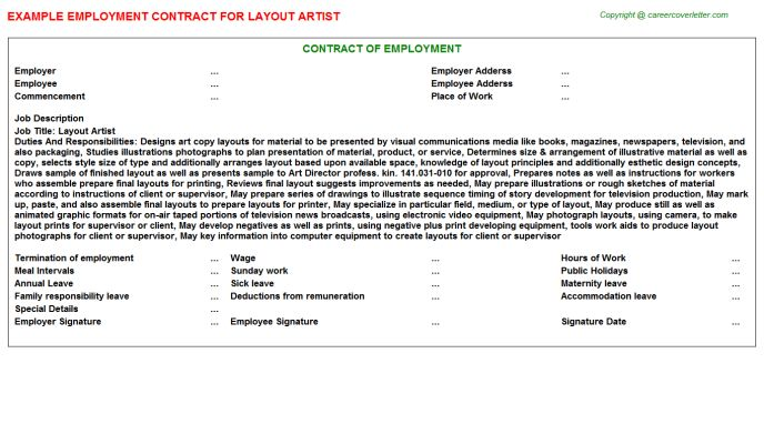 Layout Artist Employment Contracts