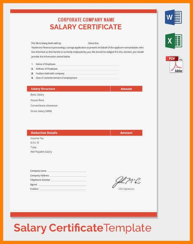 7+ salary certificate company | resume emails