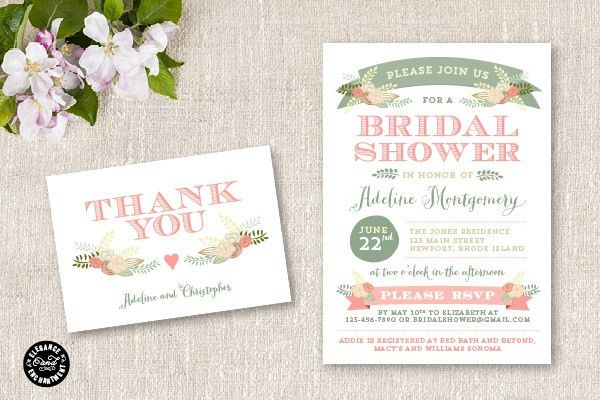New Bridal Shower Invitation Suite - Flora
