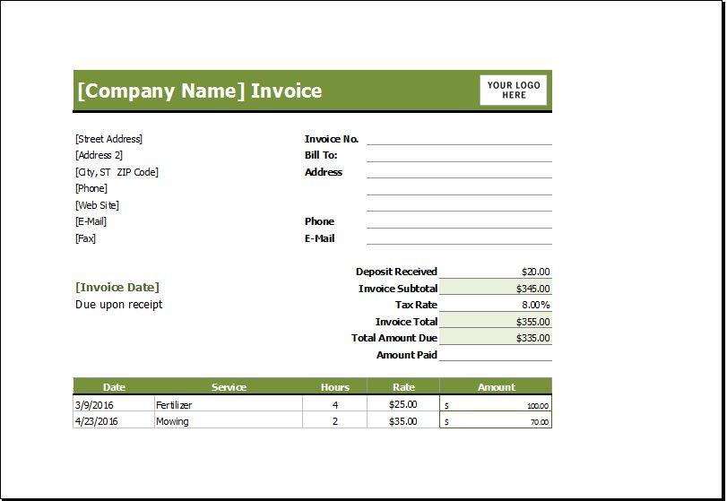 Lawn mowing receipt | EXCEL INVOICE TEMPLATES