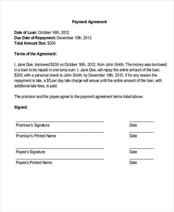 car payment agreement letter. payment agreement letter payment ...