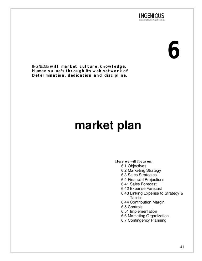 Market Plan of Business Plan INGENIOUS