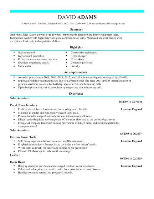 Sales Associate CV Example for Sales | LiveCareer