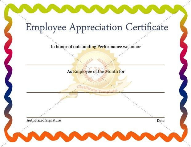 Free Editable Employee Appreciation Certificate Example with ...