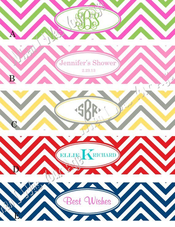 Personalized Printable Chevron Water Bottle Labels Choose