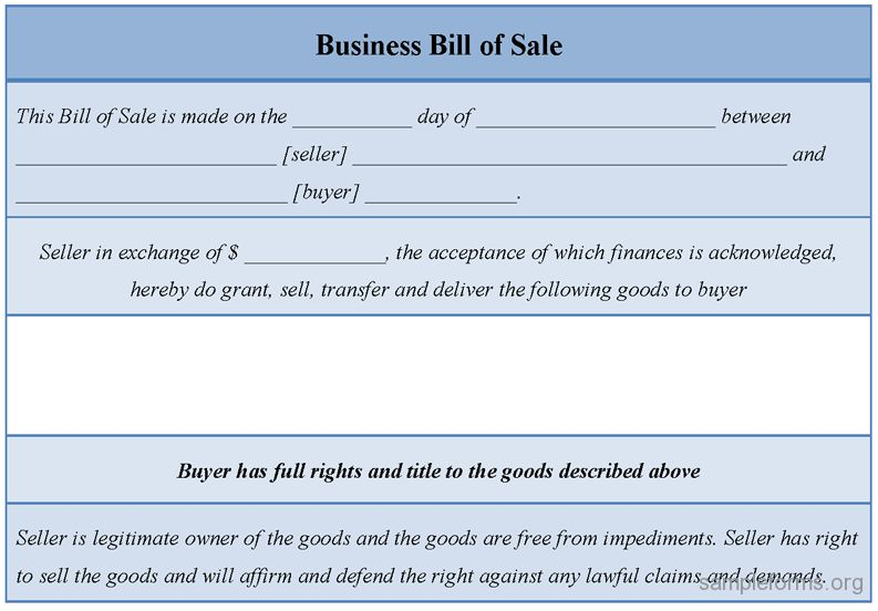 Sample Business Bill of Sale Form | Sample Forms
