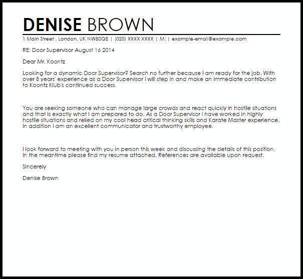 Door Supervisor Cover Letter Sample | LiveCareer