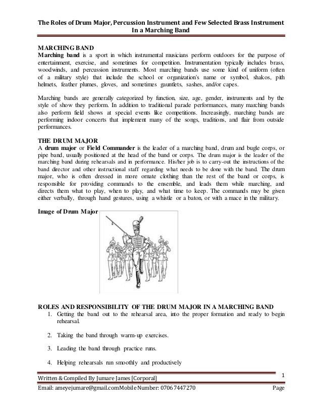 Latest the role of drum major, percussion instrument and few selected…