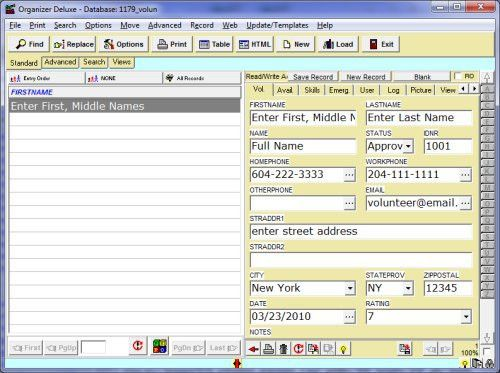 Free Volunteer Manager 1 database template for Organizer Deluxe ...