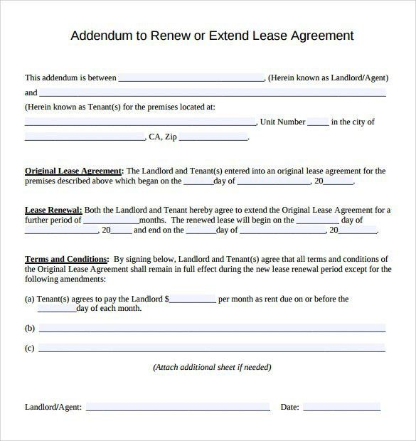 Lease Addendum Template | Best Template Examples