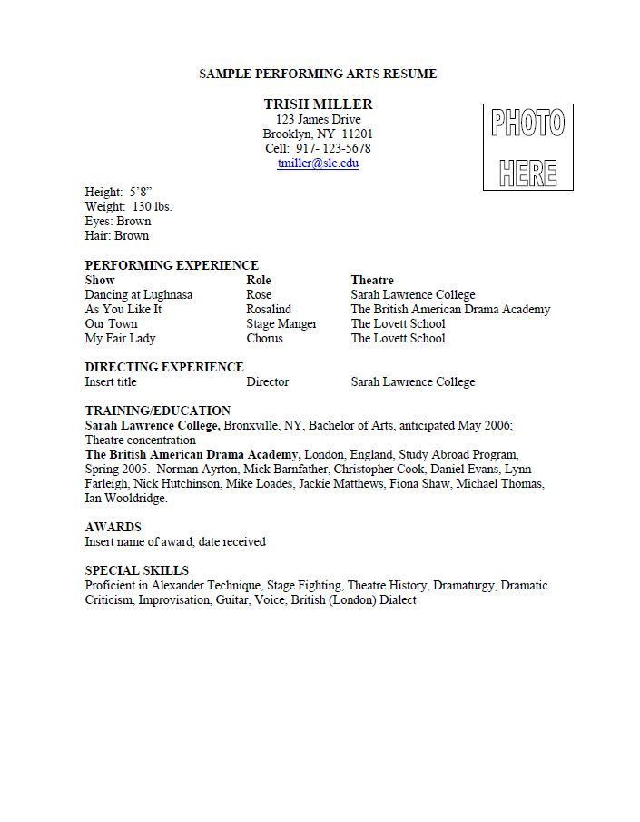 An example of a performing arts resume from Sarah Lawrence College ...